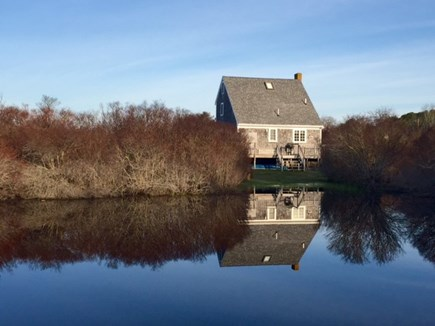 Mid-island Nantucket vacation rental - Autumn is beautiful, too: our back deck seen from across the pond