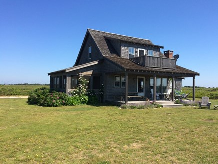 Madaket Nantucket vacation rental - Front of house with decks facing the ocean