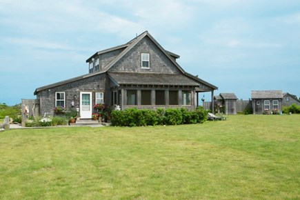 Madaket Nantucket vacation rental - Side view with screen porch overlooking the ocean