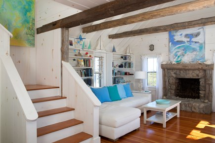 Madaket Nantucket vacation rental - Living room with fireplace