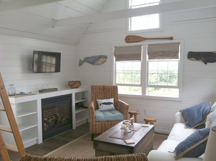 Siasconset Nantucket vacation rental - Living Room with Gas Fireplace and Direct Ocean Views