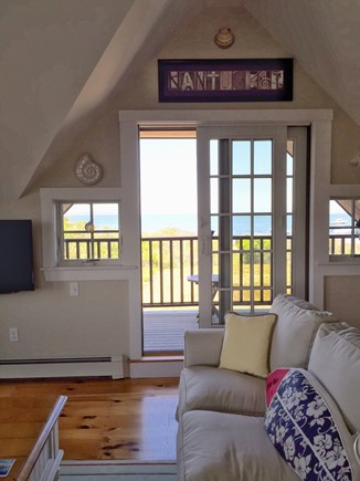 Madaket Nantucket vacation rental - Upstairs family room with deck and water views