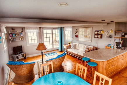 Madaket Nantucket vacation rental - First floor living area opens up to outside deck and water views