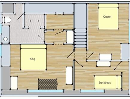 Surfside Nantucket vacation rental - Floorplan Top Floor