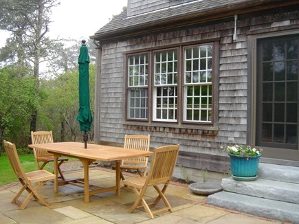 Surfside Nantucket vacation rental - Teak Table expands to fit 6