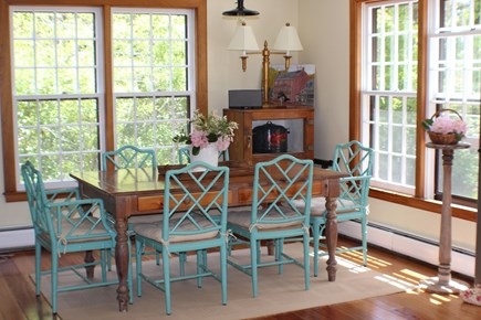 Surfside Nantucket vacation rental - Dine indoors at our roomy pottery barn table or on the patio.
