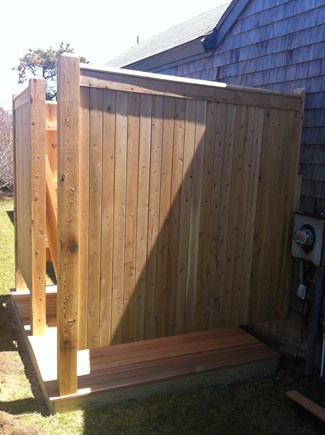 Madaket Nantucket vacation rental - Outdoor cedar shower and changing area. Clothesline nearby.
