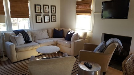 Madaket Nantucket vacation rental - Living room area, flat screen TV,  cozy gas fireplace