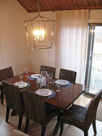 Madaket Nantucket vacation rental - Dining area; seats 6 with slider to deck and backyard