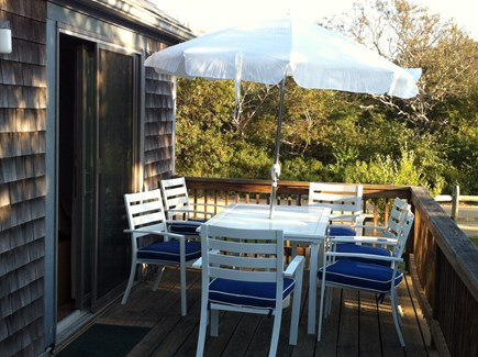 Madaket Nantucket vacation rental - Lovely deck with  table which seats 6, 2 chaise lounges.