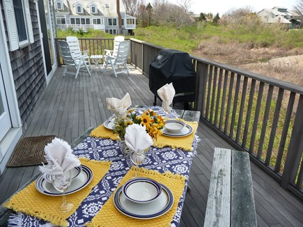 Nantucket town, Edge of Town Nantucket vacation rental - Back Deck Area for dining, reading, sunning and fantastic sunsets
