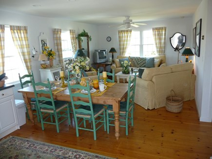 Nantucket town, Edge of Town Nantucket vacation rental - Eat-in-Kitchen with family room in background.