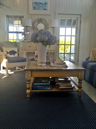 Siasconset Nantucket vacation rental - Great room.  View looking out on front porch and front yard.