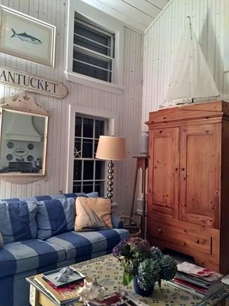 Siasconset Nantucket vacation rental - Great room.  Flat screen TV inside armoire