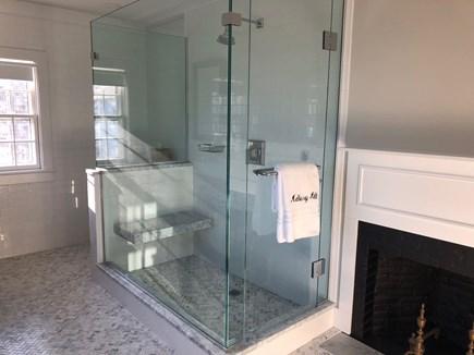 Nantucket town Nantucket vacation rental - 2nd Floor master bathroom, glass shower door and marble floors.