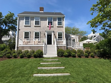 Nantucket town Nantucket vacation rental - Big front lawn, leading to stone patio with seating and fire pit.