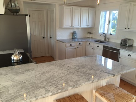 Madaket Nantucket vacation rental - New light-filled open concept kitchen with marble countertops