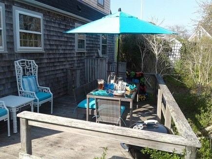 Siasconset Nantucket vacation rental - Deck with dining table and grill.  Built in bench coming soon.