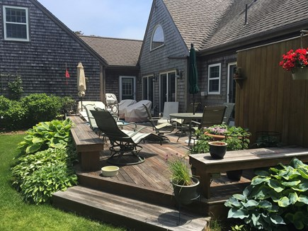 Surfside Nantucket vacation rental - Large back deck.  Perfect for visiting or just reading a book !