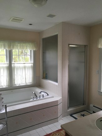 Surfside Nantucket vacation rental - Master bath with shower and jaquzzi tub