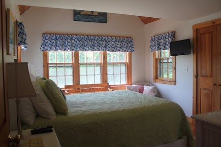 Madaket Nantucket vacation rental - A guest bedroom with a comfy queen bed and tv. Clean and quiet.