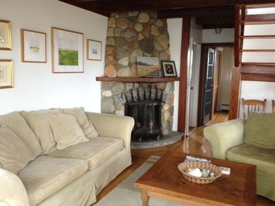 Cisco - Miacomet Nantucket vacation rental - Living area with stone fireplace