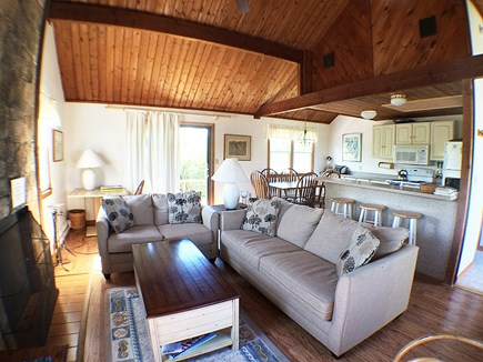 Madaket Nantucket vacation rental - Living room, dining, and kitchen areas with breakfast bar