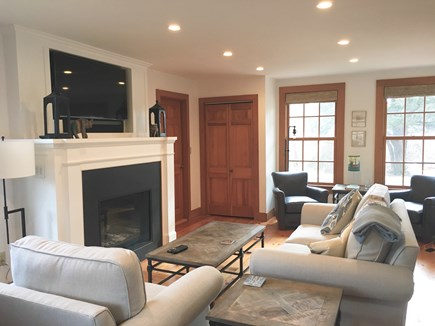 Siasconset Nantucket vacation rental - Living room with gas fireplace