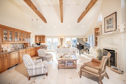Tom Nevers Nantucket vacation rental - Great Room w Fireplace and Piano and WetBar