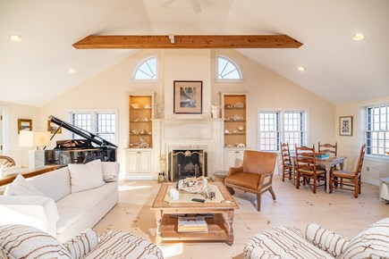 Tom Nevers Nantucket vacation rental - Great Room Fireplace and Piano
