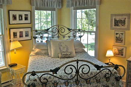 Nantucket town Nantucket vacation rental - First floor bedroom, antique iron, queen size bed, LCD TV