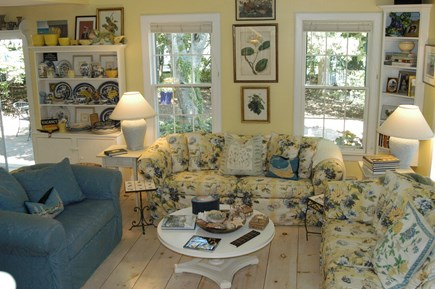 Nantucket town Nantucket vacation rental - Comfortable living room, 3 sofas, built in bookcases