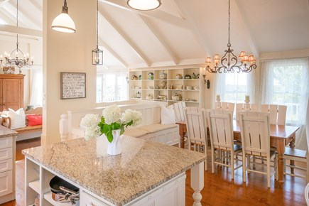 Madequecham Nantucket vacation rental - Granite kitchen island, large farm table seats 8-10