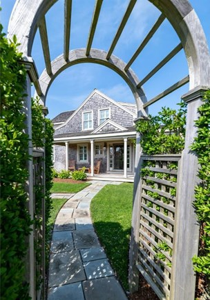 Cisco - Miacomet Nantucket vacation rental - Front walk though privacy hedge that surrounds the property