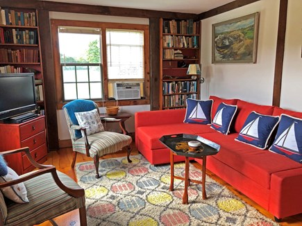 Old Madaket Nantucket vacation rental - Downstairs guest room, couch  is full queen bed.  Private bath.