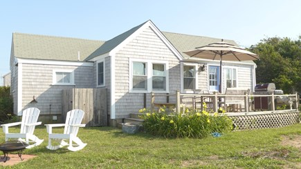 Madaket, Nantucket Nantucket vacation rental - Front of home with deck, outdoor shower, & sitting/grilling area