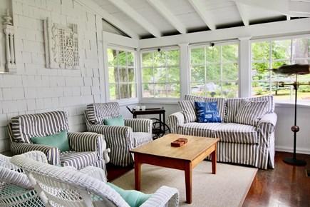Nantucket town Nantucket vacation rental - Sunroom overlooking beautiful yard and Summer Street church