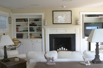 Mid-island, Naushop Nantucket vacation rental - Family room with fireplace and built in bookcases