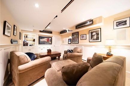 Mid-island, Naushop Nantucket vacation rental - TV Theater room with baseball memorabilia- 5.2 surround sound