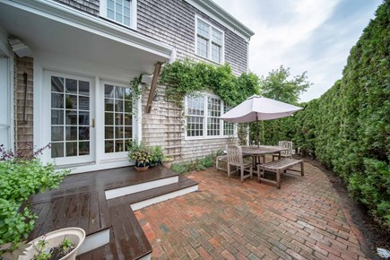 Mid-island, Naushop Nantucket vacation rental - Brick patio- outside teak furniture