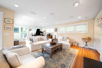Mid-island, Naushop Nantucket vacation rental - Family room with TV and 7.2 surround sound- grand piano