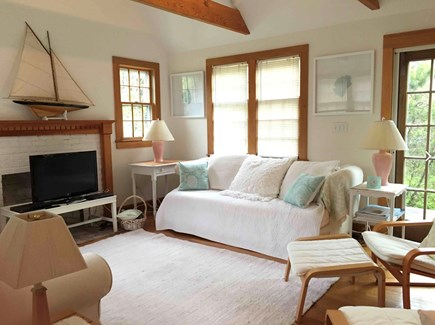 Surfside Nantucket vacation rental - The living room has french doors to the wraparound deck