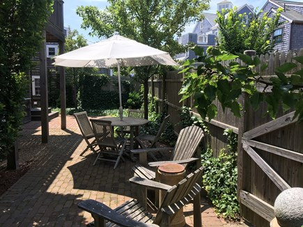 Nantucket town Nantucket vacation rental - Patio with Umbrella, Teak table and chairs.
