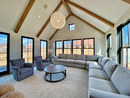 Nantucket town, Edge of Town/Cisco Nantucket vacation rental - Living room with double sided fireplace
