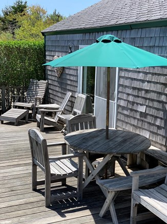 Madaket Nantucket vacation rental - East facing outdoor space. Perfect spot for morning coffee