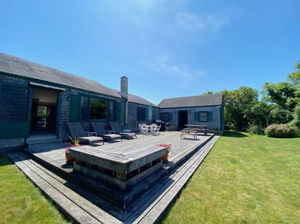 Madaket Nantucket vacation rental - Back porch with grill and plenty of family seating.