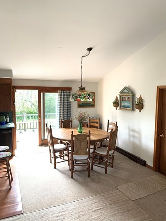 Madaket Nantucket vacation rental - Large round farm table open to the living room and kitchen