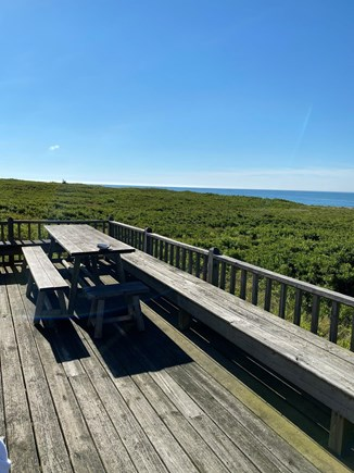 Madequecham Nantucket vacation rental - Picnic table, seats 10, on expansive deck. Ocean is parallel