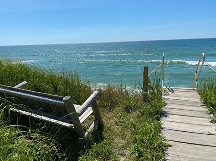Madequecham Nantucket vacation rental - Private steps to beach, with bench. Steps are 140 feet from house