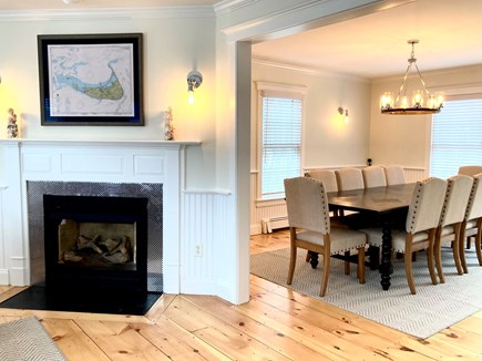 Mid-island, Naushop Nantucket vacation rental - Fireplaced living room leading to the open dining and kitchen
